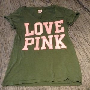 VS Pink T Army Green Pink Lettering size L